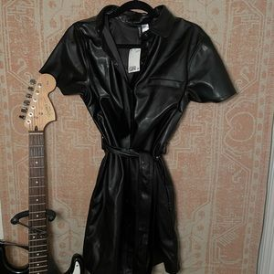 H&M faux leather belted dress